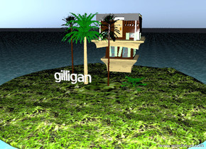 the sea. the 4 small palm tree is on the island. gilligan is in front of a palm tree. the island is moss. it is dusk. gilligan is large. the house is upside-down. the house is 4 feet behind the palm tree. the house is 4 feet to the right of the palm tree.