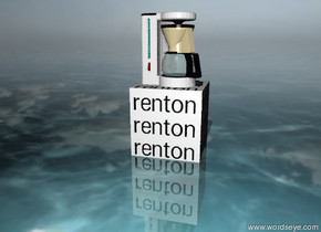 "a white ""renton"" cube. the ground is water. the ground is shiny. the tiny invisible white light is 5 feet in front of the cube. it is partly cloudy. the small appliance is on the cube. the appliance's pitcher is transparent."