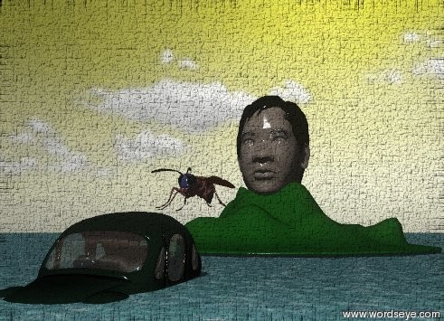 Input text: the ground has a water texture. the large car is 30 feet in front of the mountain. the car is in the ground. the 40 foot tall head is in the mountain. it is partly cloudy. the sky is yellow. a 30 foot wide wasp is next to the head.