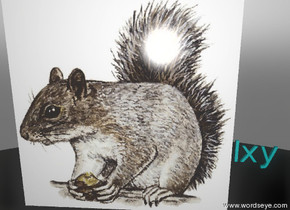 "SQUIRREL is on the sky. THE SKY IS WHITE.  Minute Cyan ""Ixy"" is two inches on the right of the squirrel."