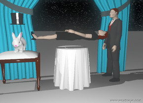 The woman is 0.55 feet above the table.The woman is facing up. The man is 1.5 feet behind the table. The big rabbit is on stool. The hat is 0.5 feet above the rabbit. The stool is 1 feet  to the south of the table. The stool is facing right. The big curtain is facing east. The ground is grey. The sky is starfield. The man is matte. The woman is matte. The big curtain is matte.