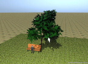 the tree is on the giant floor. The big bench is beside the tree. The floor is grass. the ground is dirt. the person is in front of the bench.