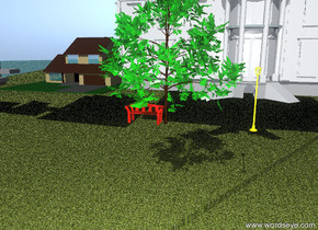 the tree is on the big terrain. the terrain is grass. the tree is green. the ground is water. the big red bench is beside the tree.the lamp is 20 feet right of the tree. the lamp is 15 feet. the lamp is facing backward.the lamp is yellow. the ten house is 20 feet behind the tree.
