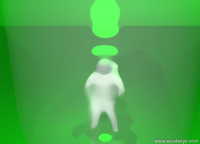 the small person is inside the 20 feet bottle. the light is 1 foot above the person. the light is green. the sky is green. the ground is green.