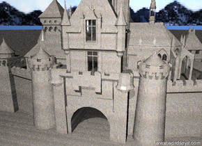 The castle is completely sand. The ground is sand. The sky is cloud.