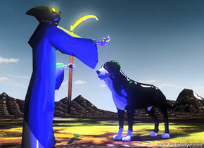 the large dog is in front of the grim reaper. the grim reaper is on the very tall mountain range. the dog is facing the grim reaper.  the hell texture is on the mountain range. it is 10 feet wide.  the huge green illuminator is 3 feet above the dog.  the huge yellow illuminator is 1 foot above the grim reaper.  the huge blue illuminator is next to the grim reaper.  it is partly cloudy.