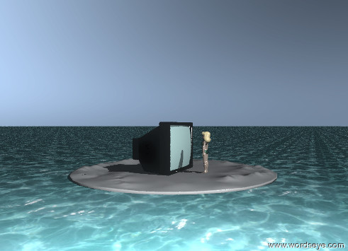 Input text: a young girl is facing a large television. the young girl is two feet in front of the television. the ground has a water texture. the girl is on the island. the television is on the island. the island is 20 feet wide.