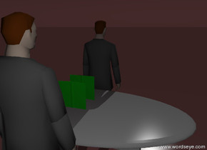 the matte businessman is behind the gray dining-room-table-vp18802. the second matte businessman is in front of the dining-room-table-vp18802, facing forward. the first green book-vp19856 is three feet above the ground. the second green book-vp19856 is three feet above the ground. the second green book-vp19856 is nine inches in front of the first green book-vp19856. the sky is brown. the ground is brown.