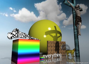 A cube is rainbow texture. the cube is 7 feet tall. a foot is on top of the cube. the foot is 4 feet high. the foot is facing the cube. the foot is checkerboard texture. the foot is facing bubble. A cat is 4 feet tall. the cat is fire. A cube is rainbow texture. rainbow texture is inverted. it is partly cloudy. the ground is mirror. A brick wall is 5 feet behind the cat. the wall is 15 feet wide. A sphere is behind the wall. The sphere is 25 feet high. The sphere is bright yellow. A large bubble surrounds everything. A man is in front of the cat. The man is 30 feet tall. the man is water.