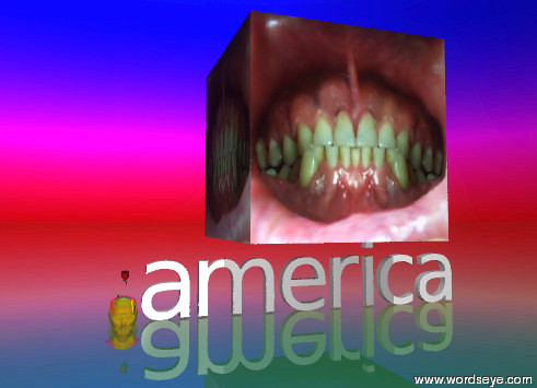 Input text: gold head in ground. rose in head. ground is glass. sky is rainbow. america. a huge mouth is above america.