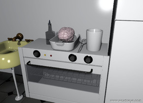 the pink brain is in the large dish. the dish is on the oven. the very big spoon is to the right of the dish. the big cup is to the right of the spoon. the big oil is to the left of the dish. the doorglass of the oven is transparent. the ground is tile. the wall is behind the oven. the refrigerator is to the right of the oven. the sink is to the left of the oven.