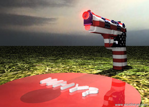 """the american gun. the sky is cloudy. the red pond is -3 inches in front of the gun. the pond is 1 foot wide. the pond is shiny. the very tiny red illuminator is in front of the gun. the illuminator is 6.5 inches above the ground.  the """"WHY?"""" is on the pond. the """"WHY?"""" is 6 inches wide. the """"WHY?"""" is facing up. the ground is grass. the tiny white illuminator is 8 inches above the gun."""