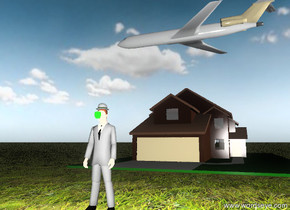 the unreflective hat is on the unreflective businessman. a  green unreflective apple is in front of the lips of the businessman. the ground is grassy. the sky is partly cloudy. the tie of the businessman is black. it is sunrise.  a house is 20 feet behind the man.  a tiny airplane is 10 feet above the house. the airplane is facing left.