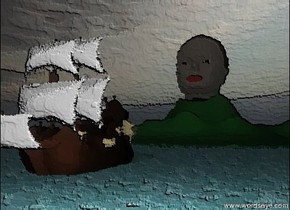 the ground has a water texture. the small ship is 30 feet in front of the mountain. the ship is in the ground.  the head is in the mountain. the head is 40 feet tall.  it is cloudy.