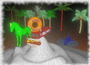 a spaceship is above a lake. a giant horse is in front of a building. the building is on a huge snowy mountain. it is night. the horse is green. the spaceship is bright blue. there is a gigantic hot dog to the right of the horse. twelve palm trees are behind the building. the lake is behind the mountain. the ground is lava.