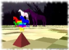 there is a small blue horse on the right of the large cube. there is a small red horse to the left of the cube. there is a tiny green horse in front of the cube. there is a long purple horse behind the cube. there is a tiny yellow horse below the cube. there is a small pink horse above the cube. the cube is rainbow. the yellow horse is above a giant pyramid. the pyramid is brown. the ground is grass. the sky is cloudy.