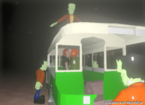 the man is inside the bus. the woman is inside the bus. the man is facing right. the woman is facing left. the small frankenstein is above the bus. the small frankenstein is facing back. the second small frankenstein is to the left of the bus. the second small frankenstein is facing right. a third small frankenstein is to the right of the bus. the third small frankenstein is facing left. the fourth small frankenstein is behind the bus. the ground is dirt. it is night.