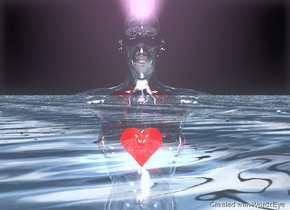 The Tiny transparent dark red heart is -23 inches above the glass human. The small water texture is on the human. The azure light is 15 feet behind the human. The azure light is 14 inches above the ground. The sky is black. The gigantic water texture is on the ground. The very tiny violet light is in the human.