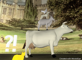 "The goat is on the large cow. The dog is on the goat. The chicken is on the dog. The cat is on the ground. The animals are facing right. The cat is facing the cow. The cat is 10 feet in front of the cow. The huge grass texture is on the ground. The 7000 foot wide building texture is on the sky. The cow is ivory. The animals are unreflective. The ""?!"" is above the cat. The ""?!"" is 2 inches to the left of the cat. The cat is bright orange. The dog is ivory. It is dusk."