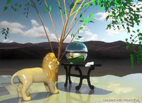 the very large silver ball is on the table. the background is pink. the background is short. it is cloudy. the ground is shiny.  a large yellow illuminator is 4 feet above the ball.  The table is under the small willow tree.  The lion is one foot in front of the table. the lion is facing the ball.