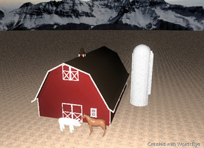the horse is facing the huge pig.  the pig is facing the horse. they are in front of the barn.  the background. the ground has a dirt texture.  it is cloudy.