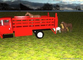 There is a big truck. There is a large horse in the back of the truck. A large donkey is 8 feet behind the truck. A big   horse is next to the donkey. A  large white goat is next to the donkey.There is a huge dog next to the big horse. The ground is grass. It is cloudy.