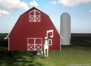 there is a white pig. there is a white horse and a  dark pink  pig. there is a barn behind the horse. the ground is grass.there is a goat. the sky is cloudy.there is a  large  note above the horse. the barn is matte.