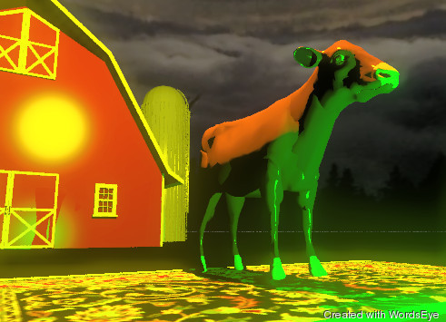 Input text: the cow is on the rug. the small barn is 10 feet behind the rug. it is partly cloudy. the ground is black.  the camera-light is black. the large yellow illuminator is 5 feet above the cow.  the green illuminator is 15 feet in front of the barn.   the camera-light is black. it is night.