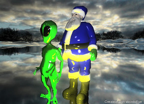 Santa Claus is on the white mountain range. he is blue.  it is cloudy. the large yellow illuminator is in front of him.  the alien is in front of him. the mountain range is silver.
