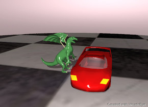 the 200 foot tall dragon is facing the 100 foot tall  car. The ground is a checkerboard. the sky is pink
