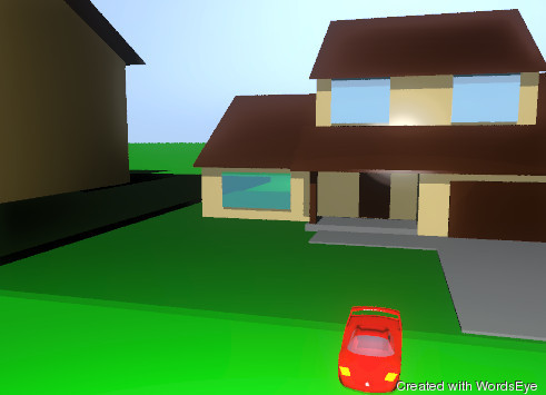 Input text: there is a big house on the ground.There is a  huge gold car in front of the house. A huge red man is car . The ground is green.There is a huge house next to the house.     .