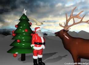The Santa Claus is to the right of the christmas tree. The Santa Claus is facing right. The elk is facing left. The elk is two feet to the right of the Santa Claus.   The tree is 10 feet tall. a large bird is 2 inches above santa.  the bird is facing the elk.  it is cloudy. the tree is on the very tall mountain range.