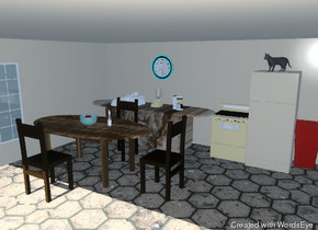 the room is tan. a refrigerator is against the back wall. the refrigerator is tan. a stove is to the left of the refrigerator. the floor has a tile texture. the sink is in the wide counter. the counter is three feet tall. the counter is to the left of the stove. the counter is to the right of the left wall. the counter is 3 feet thick. the sink is -25 inches above the counter. the counter has a marble texture. the sink is white. a small coffee maker is on the counter. the coffee maker is 3 foot to the right of the sink. a blender is one foot to the left of the coffee maker.  a table is three feet in front of the counter. the table has a wood texture. the table is three feet tall.  a chair is to the right of the table. the chair is facing the table.  the chair is four feet tall. another chair is behind the table. it is four feet tall. another chair is in front of the table. it is four feet tall. it is facing the table.  a large glass bowl is on the table. an apple is in the bowl. a green apple is next to the red apple.  the bottle is one foot to the right of the bowl.  a large clock is two feet above the counter. it is five feet to the right of the left wall.  a window is on the left wall.  a red trash can is to the right of the refrigerator.  the matte cat is on the refrigerator. the cat is facing southwest.
