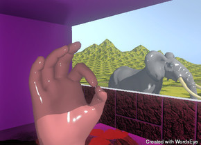 the brown hand is in the room. the hand is 8 feet tall. the right wall is 4 feet tall. the right wall is brick. The floor has a flower texture. the room is purple. the room is 12 feet tall. it is 20 feet deep. it is 15 feet wide.  The elephant is to the right of the room. the room is on the very tall mountain range. the mountain range is grass.