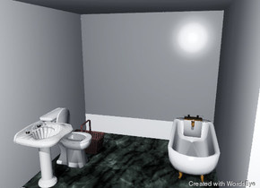 the room is transparent. the floor is marble. the room is 10 feet wide. the room is 10 feet deep.  the toilet is to the right of the left wall. the toilet is facing right.  the sink is in front of the toilet. the sink is facing right.  the bath is against the back wall. it is one inch to the left of the right wall.  the brown basket is on the floor. it is four feet to the left of the bath.  the ground is grass.