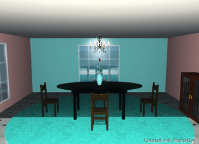 the room. the left wall is salmon. the back wall is turquoise. the right wall is salmon. the ceiling is cream. the floor is tile. a large rug is on the floor. the rug is turquoise carpet. a chandelier is on the ceiling. a window is on the left wall. a window is on the back wall. a black dining room table is on the rug. a wooden chair is in front of the table. the chair is facing the table. a wooden chair is to the right of the table. the chair is facing the table. a wooden chair is to the left of the table. the chair is facing the table. a wooden chair is behind  the table. a small turquoise vase is on the table. a tall flower is in the vase. a cabinet is next to the right wall. it is facing left. the cabinet is 4 feet tall.