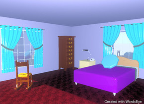 the room is wisteria violet. the floor is strawberry carpet.  a window is on the left wall. a curtain is to the right of the left wall. it is facing right. the curtain is one foot above the floor.  a window is on the back wall. a curtain is in front of the window.  an indigo bed is one foot in front of the back wall. a pillow is on the bed.  a nightstand is to the left of the bed. a lamp is on the nightstand. a telephone is to the right of the lamp.  a large dresser is against the left wall. it is one foot in front of the back wall.  a rocking chair is three feet to the right of the left wall.  it is three feet in front of the bed.  it is facing northwest.