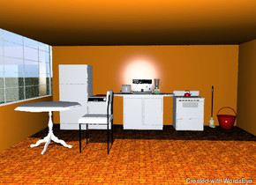 the ground is grass.  the room is orange red. it is 16 feet deep and 20 feet wide. the floor is brick. the left wall is 3 feet high.  a window is above the left wall. it is 5.5 feet high and 16 feet wide. it is facing right.  the white counter is in front of the back wall.  the dishwasher is next to the counter. the refrigerator is next to the dishwasher. the white stove is to the right of the counter. it is in front of the back wall. a red tea kettle is six inches in the stove. the coffee maker is on the counter. the jade green blender is to the right of the coffee maker. the big toaster is to the left of the coffee maker.  the first red plate is on the dishwasher.   the second red plate is on the first red plate.  the third red plate is on the second red plate.  the fourth red plate is on the third red plate.  the table is three feet in front of the refrigerator. the table is three feet tall.  the white chair is to the right of the table. it  is facing the table.  a mop is one foot to the right of the stove. it is against the back wall. a red bucket is to the right of the mop.