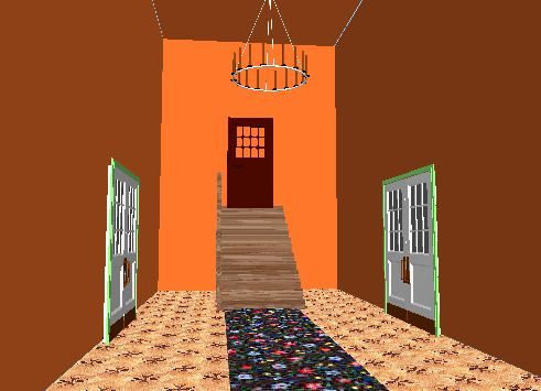Input text: the room is twenty feet tall. it is 15 feet wide and 30 feet deep.  the room is orange spice.  the floor is parquet.  the door is on the back wall. the wood staircase is in front of the back wall. the staircase is five feet wide. it is 9 feet high.   a door is in to the right of the left wall. it is facing right.  a door is to the left of the right wall. it is facing left.  a huge chandelier is on the ceiling.   a pattern rug is on the floor. it is facing right. the rug is in front of the staircase.  the rug is twenty feet long. the rug is six feet wide.