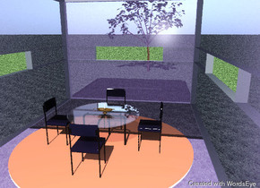 the ground is grass.  the room is transparent glass. it is 20 feet  wide and 15 feet high. It is thirty feet deep.  a large apricot rug is on the floor.  a table is on the rug. the table is 3 feet tall.  a chair is in front of the table. it is facing north.  a chair is behind the table.  a chair is to the right of the table. it is facing west.  a chair is to the left of the table. it is facing east.  a long hole is in the back wall.  a long hole is in the left wall.  a long hole is in the right wall.  a large  candle is on the table.  a tree is fifty feet behind the room.