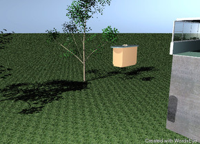 the ground is grass. a tree is on the ground. a tree is 30 feet in front of the tree.  a humongous stone block is 50 feet to the right of the tree.  the cadet blue room is on the block.  the floor is tile. the left wall is 3 feet high. a window is above the left wall. it is facing right. the window is 5 feet high and 20 feet wide.  a black stove is in front of the back wall.  it is 1 foot to the right of the left wall. a black counter is to the right of the stove. the counter is 10 feet wide and 3 feet high. a white sink is 1.5 feet in the counter. the sink is 2 feet wide.  a black dishwasher is to the right of the counter. a black refrigerator is to the right of the dishwasher.  a coffee maker is on the counter. it is six inches  to the right of the sink. a blender is on the counter. it is 7 inches to the left of the sink.  a red pot is on the dishwasher.  a cabinet is against the right wall. the cabinet is 5 feet in front of the back wall. a cabinet is on the cabinet.  a counter is to the right of the left wall. it is facing left. a stool is 6 inches to the right of the counter. it is 8 feet in front of the back wall. a stool is in front of the stool.  a plate is on the counter. a sandwich is on the plate.  a table is on the floor.  a tomato chair is six inches behind the table.  a tomato chair is six inches to the right of the table. it is facing left.  a tomato chair is six inches to the left of the table. it is facing right.  a tomato chair is in front of the table. it is facing north.  a clock is 3 feet above the black counter. it is 0.5 inches in front of the back wall.