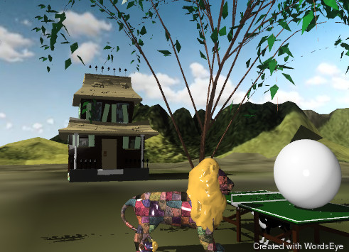 Input text: There is a table under a small willow tree. A lion is in front of the table. An enormous silver ball is on the table. the lion is facing the ball. it has a tile texture.   it is cloudy.  A haunted house is 30 feet left of the tree. it is facing the tree.  the tree is on the grass mountain range.  the mountain range is 200 feet tall.  the ground has a water texture.  A dog is under the table.