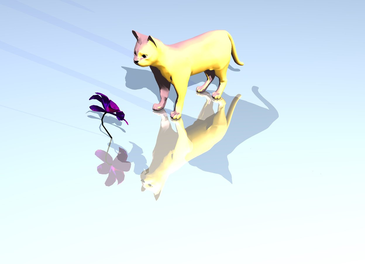 Input text: the flower is .25 feet in front of the pink cat. the ground is shiny. the sky is shiny. the flower is facing the cat. the yellow illuminator is 5 feet to the right of the cat.