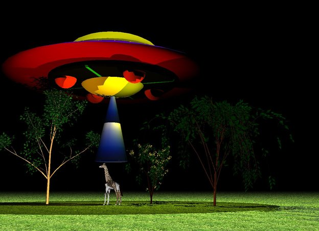 Input text: It is night. The flying saucer is 10 feet above the ground. The dome of the flying saucer is yellow. The ground is grass. The white light is 20 feet above the flying saucer. The tiny giraffe is on the ground. It has a giraffe image. The giraffe is facing west. The small yellow light is 5 feet above the giraffe. The small yellow light is 2 feet right of the giraffe. The tiny white ash tree is next to the giraffe. The tiny cherry tree is behind the giraffe. The tiny weeping willow tree is behind the giraffe. The huge cone is 2 inches above the giraffe. It is 84 inches tall. It is 3 feet wide. The huge cone is image-5245. The dark orange light is 2 feet left of the giraffe.