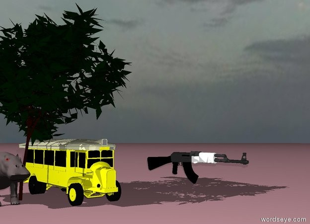 Input text: The yellow bus is under the tree. It is cloudy. The ground is pink. The tree is 50 feet tall. The bus is 15 feet tall. A hippo is left of the tree.  The hippo is 12 feet tall. A gun is to the right of the bus. The gun is 39 feet away from the bus. The gun is 11 feet tall.