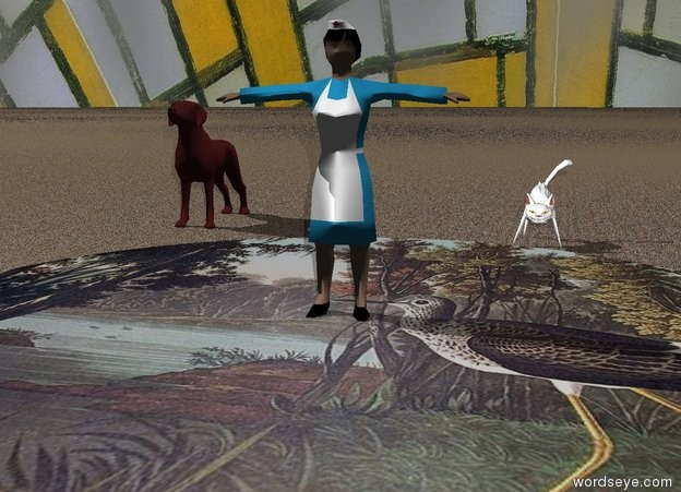 Input text: The lake is 60 feet long. The lake has a  bird texture. The sky is gray. The sky has a Mondrian texture. The ground is tan. The ground has a sand texture. A woman is on the lake. The woman is 18 feet tall. A white cat is behind the lake. The cat is 8 feet tall.  The cat is to the right of the woman. The cat is 1 feet away from the woman. A brown dog is behind the lake. The dog is 14 feet tall. The dog is 16 feet away from the woman. The dog has a  texture.