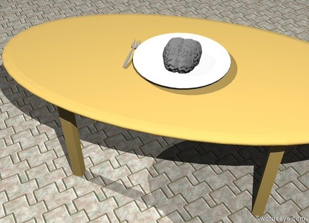 Input text: a brain is in a big plate. the plate is on a dining room table. a fork is left of the plate. the table is on the large tile floor