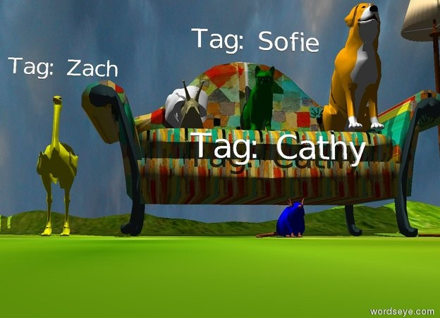 "Input text: the klee sofa is on the [green] mountain range. a green cat is on the sofa. the tiny ""Tag: Sofie"" is 6 inches above the cat. a orange dog is 1 foot to the right of the cat. it is cloudy. the small yellow bird is behind the couch. the bird is 7 inches to the left of the couch. the tiny ""Tag: Zach"" is 6 inches above the bird. the blue mouse is in front of the couch. the tiny ""Tag: Cathy"" is 6 inches above the mouse. the lamp is to the right of the couch. the enormous white snail is 8 inches to the left of the cat.  the cheese is 10 feet in front of the bird. the cheese is to the left of the mouse."