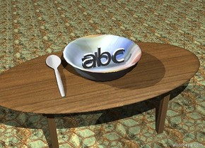 "the small ""abc"" is in the giant glass bowl. the bowl is on the table. the table has a wood texture. the ground has a tile texture. the huge silver spoon is next to the bowl."