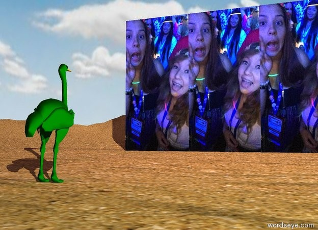 Input text: the [emma] wall is 12 feet wide. it is on the tall sand mountain range. it is cloudy. the very small green ostrich is 15 feet in front of the wall. it is facing the wall. it is morning. the purple light is 2 feet above the ostrich.